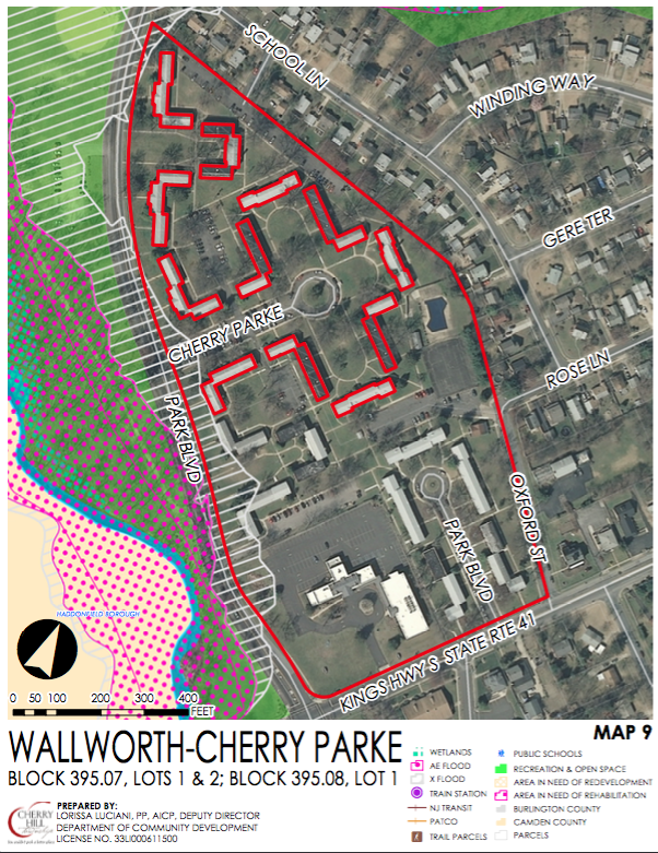 Zoning overlay for the Wallworth, Cherry Parke, and 1010 Kings Highway site. Credit: Cherry Hill Twp.