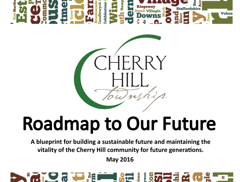 """Cover of """"Roadmap to Our Future,"""" the Cherry Hill municipal sustainability plan. Credit: Cherry Hill."""