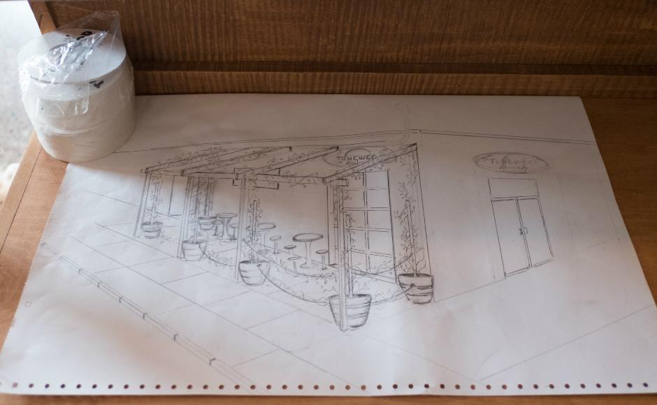 Tonewood Beer Garden sketch. Credit: Tricia Burrough.