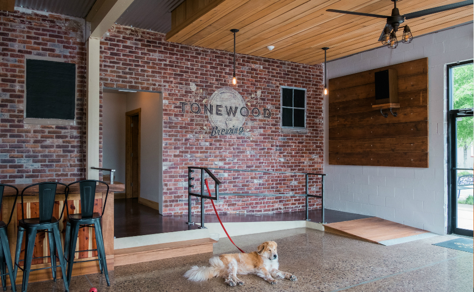 Koda the brew dog is a fixture at the Tonewood Tasting Room. Credit: Tricia Burrough.