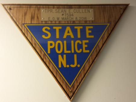 A plaque honoring Cullen hangs in the Bellmawr NJSP barracks. Credit: NJSP.
