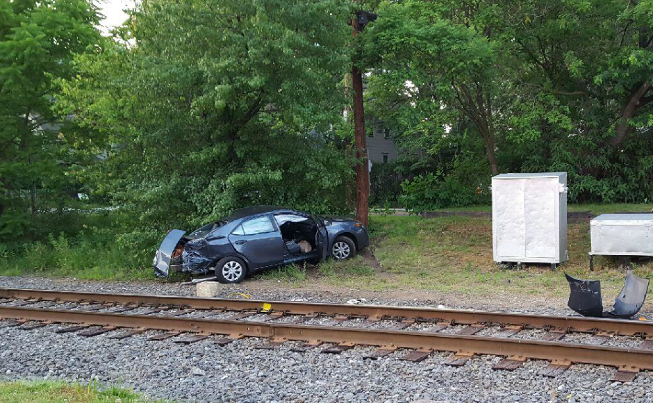 A vehicle after colliding with a train in Audubon. Credit: Matt Kerth.