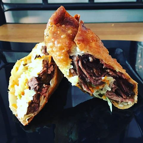 Beast of the Street beef brisket and cheddar egg rolls. Credit: Beast of the Street.