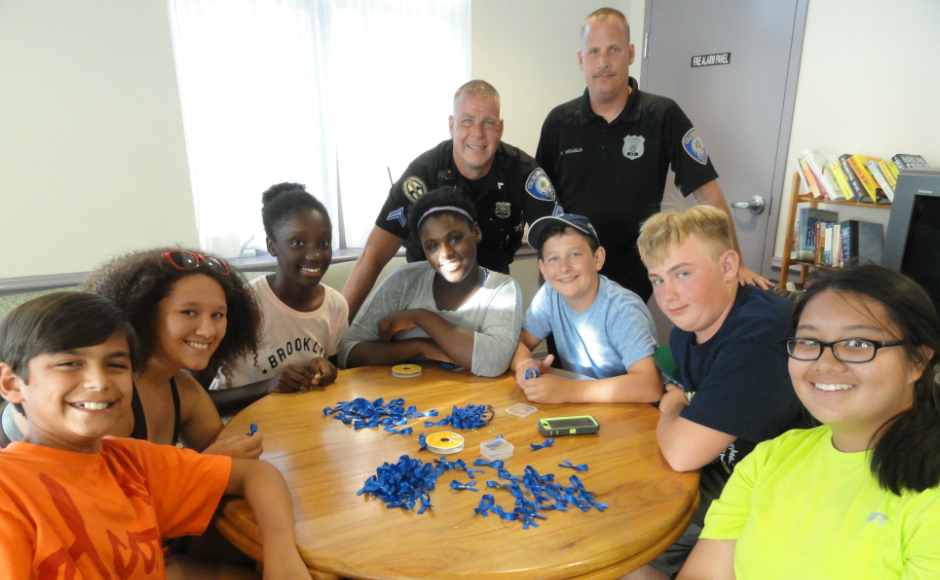 Collingswood students work with police officers on the Blue Ribbon Project in 2015. Credit: Matt Skoufalos.
