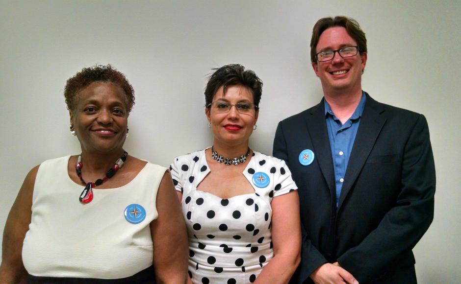 (From left): Diana Cooper, Carmen Rodriguez, Dan Rhoton. Credit: Matt Skoufalos.