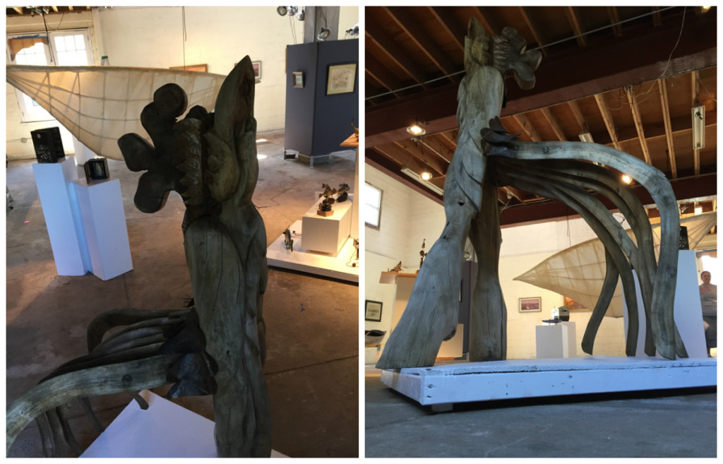 Dick Jeffries' driftwood rooster. Credit: Perkins Center for the Arts.