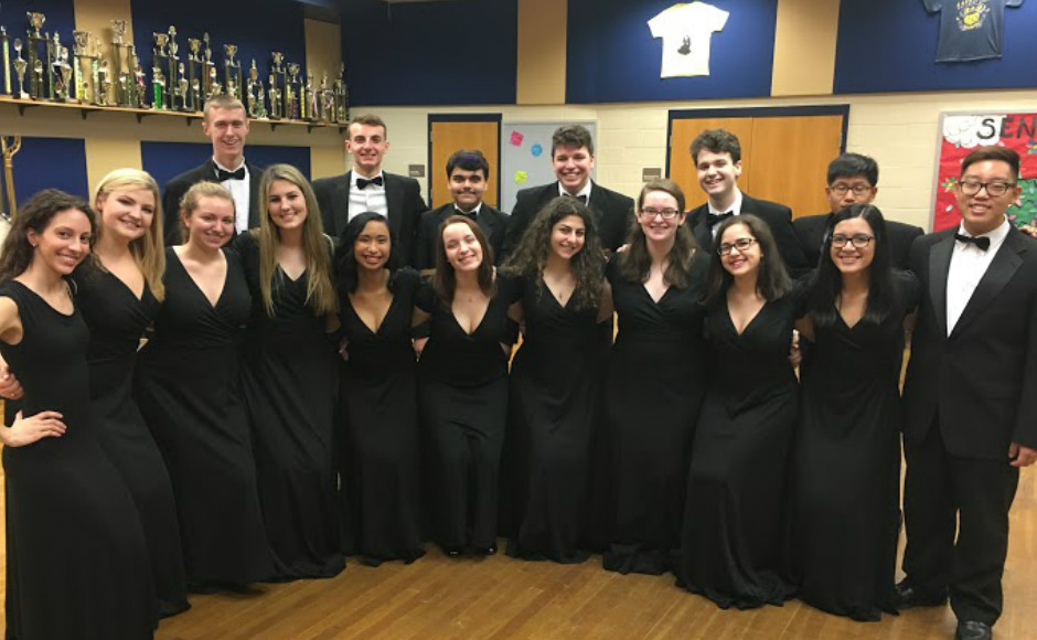 Josee Matea with the Cherry Hill West Chamber Choir. Credit: Josee Matea.