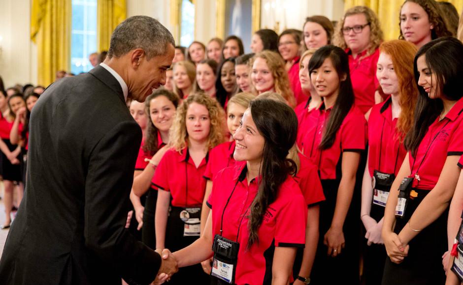 Sarah Buffaloboy (right) meets President Barack Obama. Credit: Sarah Buffaloboy.