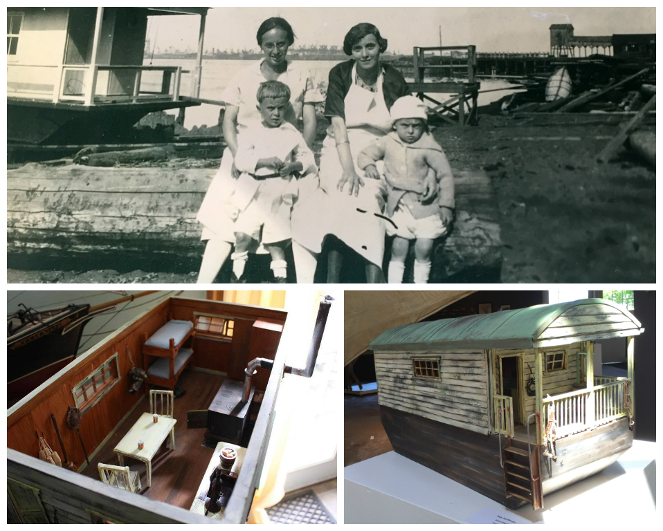 Smithsonian house boat model and photographs from the Rear Range Lighthouse Society of Paulsboro. Credit: Perkins Center for the Arts.
