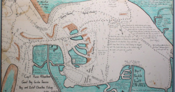Map of Little Egg Harbor by Captain Russ Albertson. Credit: Perkins Center for the Arts.