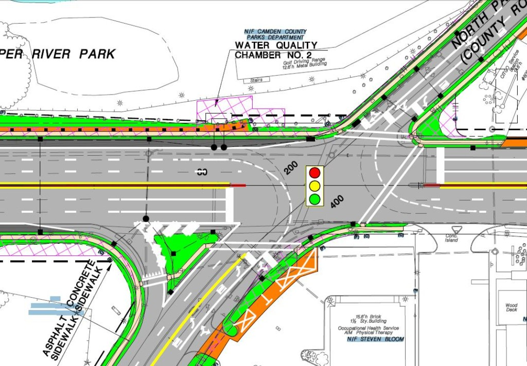 Map of the roadway construction at Route 130 and N. Park Drive. Credit: Greater Phila. Bike Coalition.