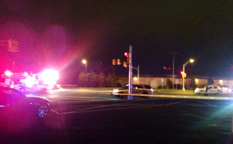 Route 130 and N Park Drive at the scene of Monday night's fatal cycling accident. Credit: Matt Skoufalos.