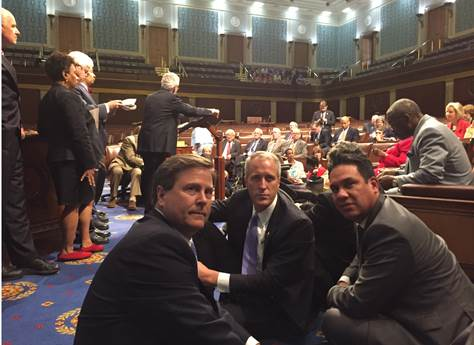 Donald Norcross (left) , Rep. Sean Patrick Maloney (NY-18), Rep. Pete Aguilar (CA-31) sit-in on the floor of the U.S. House of Representatives. Credit: Donald Norcross.