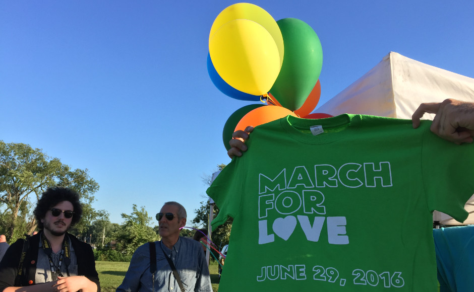 T-shirts sold at the Camden County March for Love June 29. Proceeds benefit victims of the Pulse Orlando nightclub shooting. Credit: Abby Schreiber.