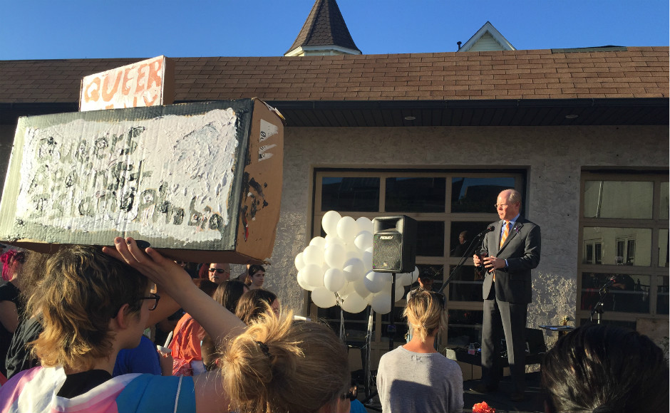 Collingswood Mayor Jim Maley speaks at a vigil for the victims of the Orlando nightclub shooting. Credit: Abby Schreiber.