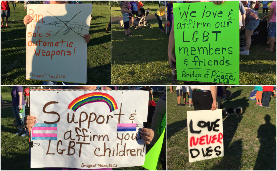 Protest signs at the Camden County March for Love June 29. Credit: Abby Schreiber.