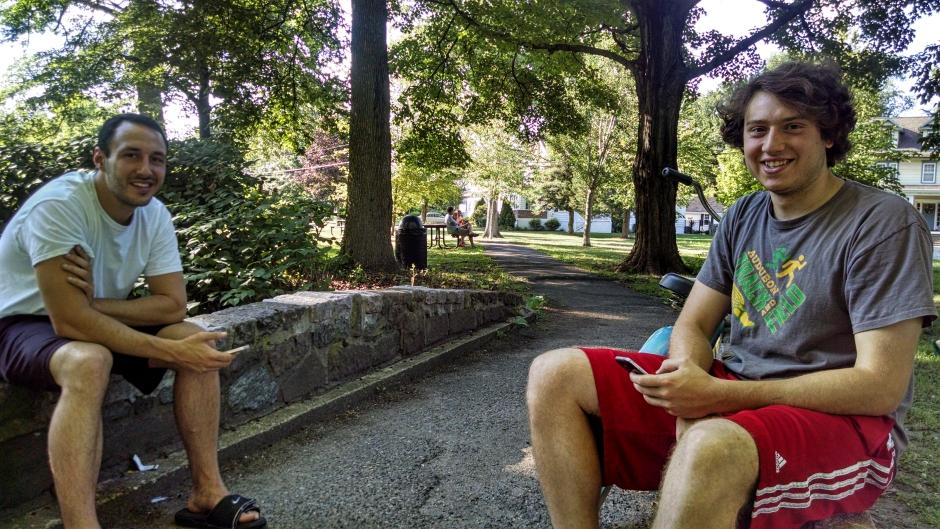 Jim Blanda (left) and Anthony Polidoro in Haddon Lake Park. Credit: Matt Skoufalos.