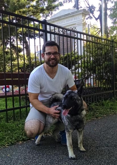 Joe Bret and his dog Sophie. Credit: Matt Skoufalos.