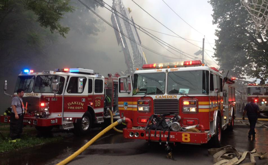 Oaklyn FD responds to building fires in Camden City on July 3. Credit: Curt Hudson/Oaklyn FD.