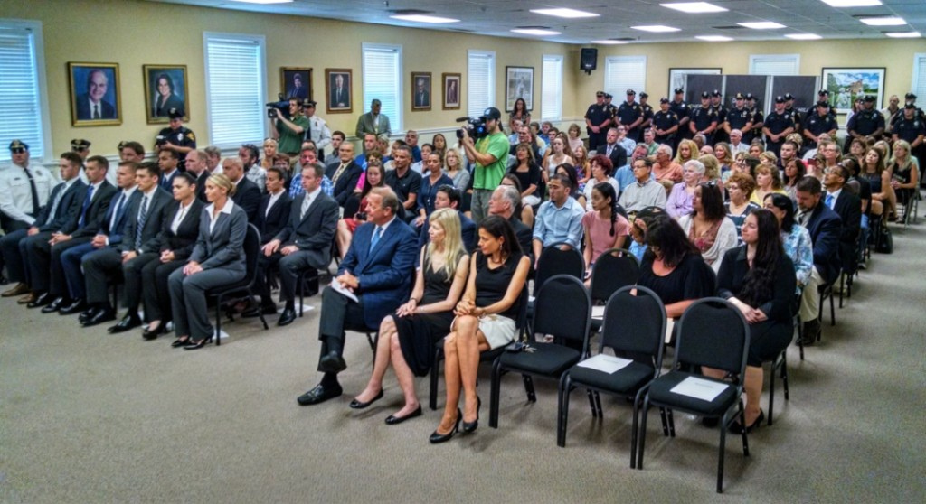 The audience at the Cherry Hill police swearing-in. Credit: Matt Skoufalos.