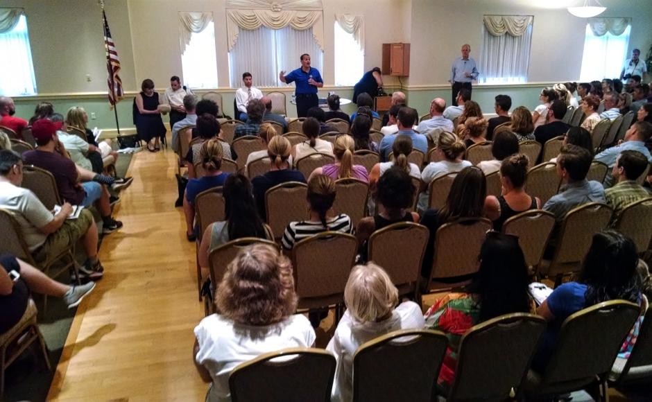 Collingswood residents attend a forum on police involvement in school discipline. Credit: Matt Skoufalos.