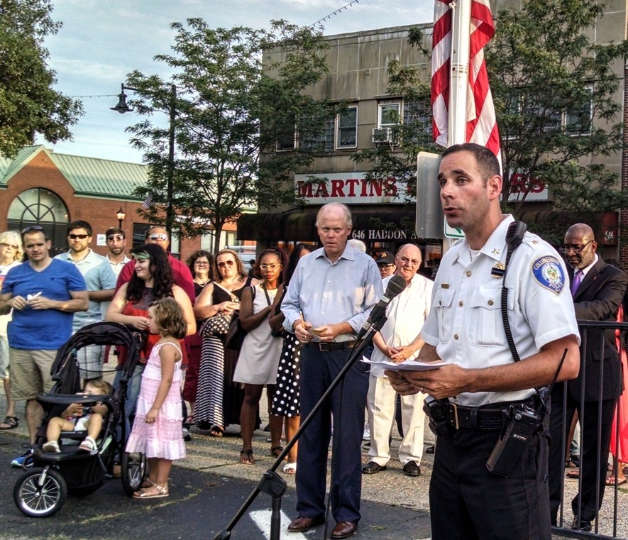 Collingswood Police Chief Kevin Carey speaks at a vigil for victims of the Dallas police shooting. Credit: Matt Skoufalos.