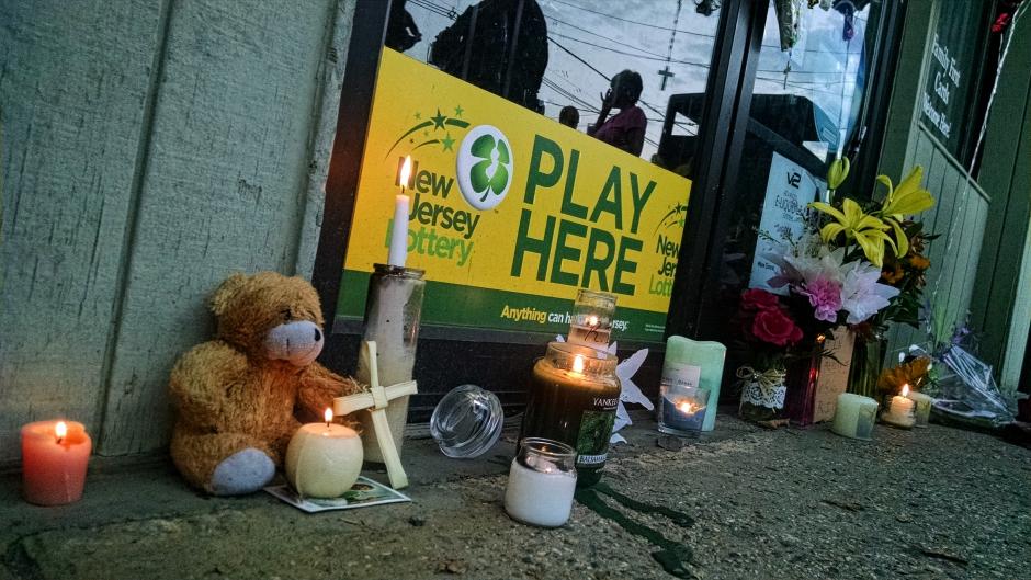 Tributes to Seema Singh were left outside her store. Credit: Matt Skoufalos.