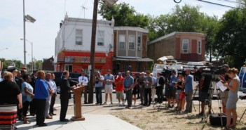 Camden officials gathered to celebrate the demolition of 531 unsafe residential properties. Credit: Rob Smith.