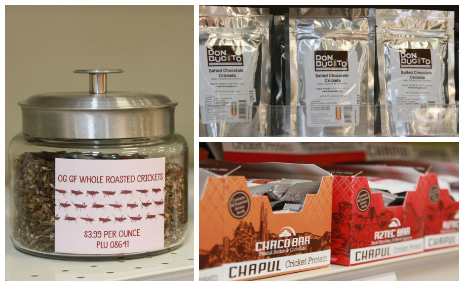 MOM's Organic Market carries cricket and mealworm snacks for shoppers who want sustainable protein. Credit: Rob Smith.