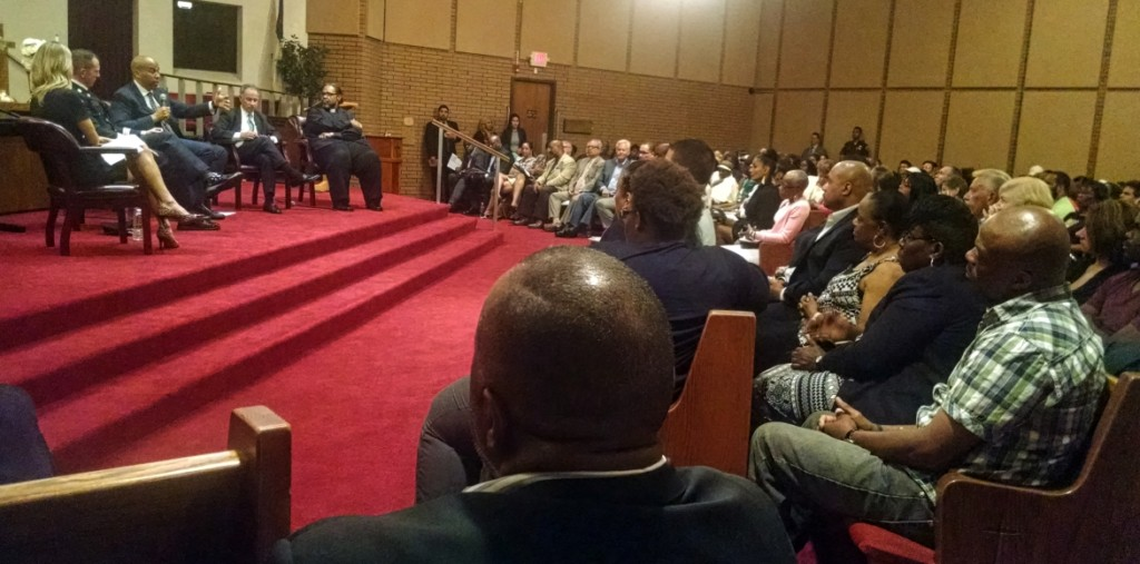 Booker addresses the crowd at a community forum on criminal justice reform. Credit: Matt Skoufalos.