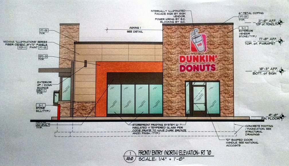 Proposed Dunkin Donuts at Bayard's Chocolate House on Route 70 in Cherry Hill. Credit: Matt Skoufalos.