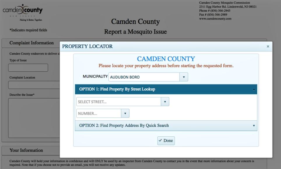 Screenshot, Camden County mosquito reporting tool. Credit: Camden County.