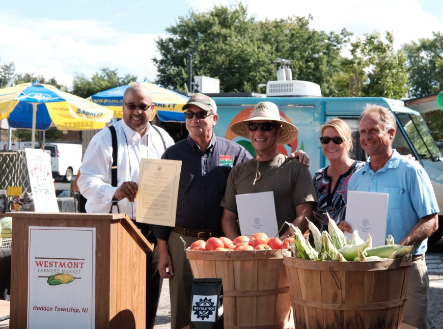 From left: Ratchford, Fisher, Kelly, Bennett, Teague, at the Westmont Farmers Market. Credit: Tricia Burrough.