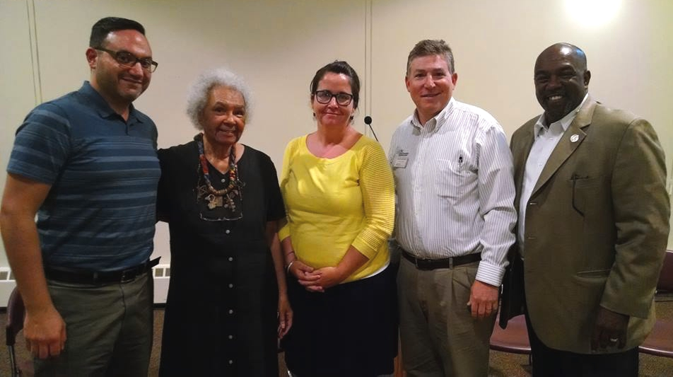 From left: Jim DeSimone of PFLAG Collingswood, Rev. Alice Cook of Rhoads Temple UM Church, school psychologist Michele Messer, David Snyder of the Jewish Community Relations Council, and Camden County Freeholder Jonathan Young. Credit: Matt Skoufalos.