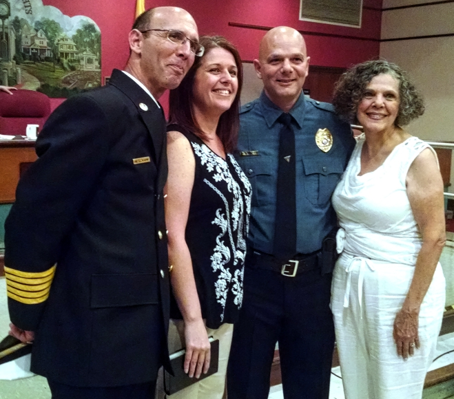 The Scardino family celebrates Michael Scardino's promotion to Captain of the Haddon Heights PD. Credit: Matt Skoufalos.