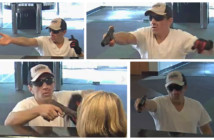 Photos of a man wanted in the armed robbery of a trio of South Jersey banks. Credit: CCPO.
