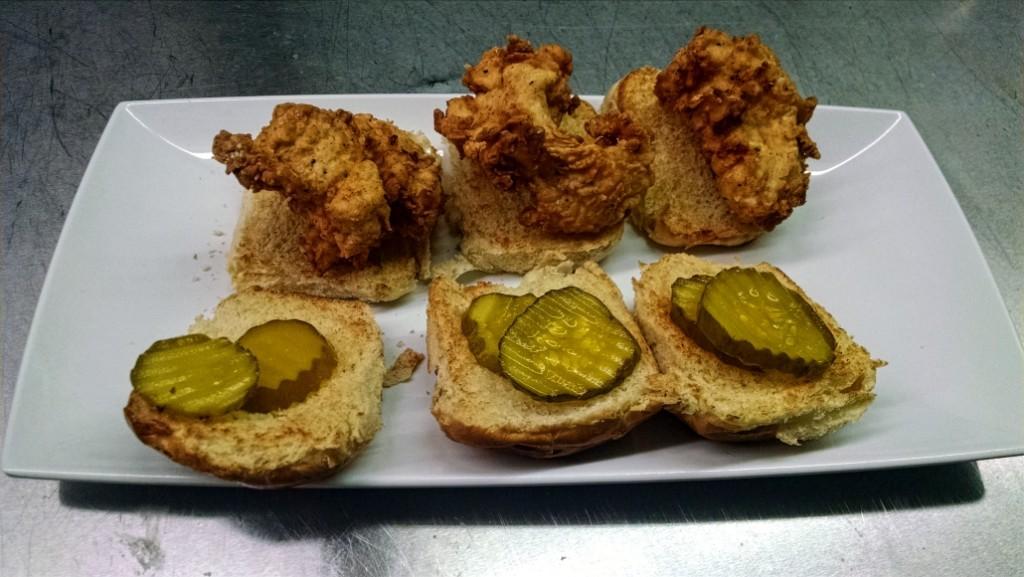 House-made buttermilk fried chicken sliders. Credit: Matt Skoufalos.