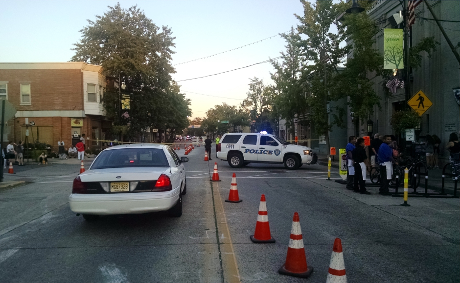 Police investigating a bomb threat in Collingswood. Credit: Matt Skoufalos.