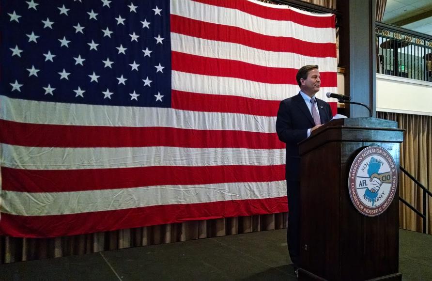 U.S. Congressman Donald Norcross speaks at the AFL-CIO Labor Day Celebration in Collingswood. Credit: Matt Skoufalos.