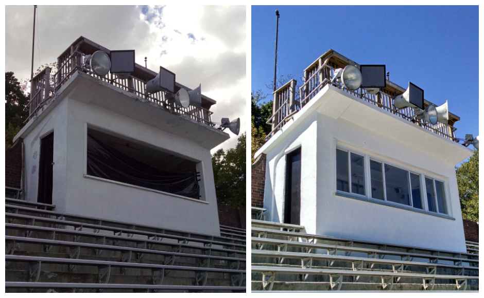 Before and after shots of the HMHS press box rehabbed by Eagle Scout candidate Sam Rivard. Credit: Matt Skoufalos.