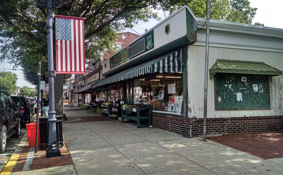 John's Friendly Market is a mainstay of the Haddon Heights downtown and a frequent photo backdrop. Credit: Matt Skoufalos.
