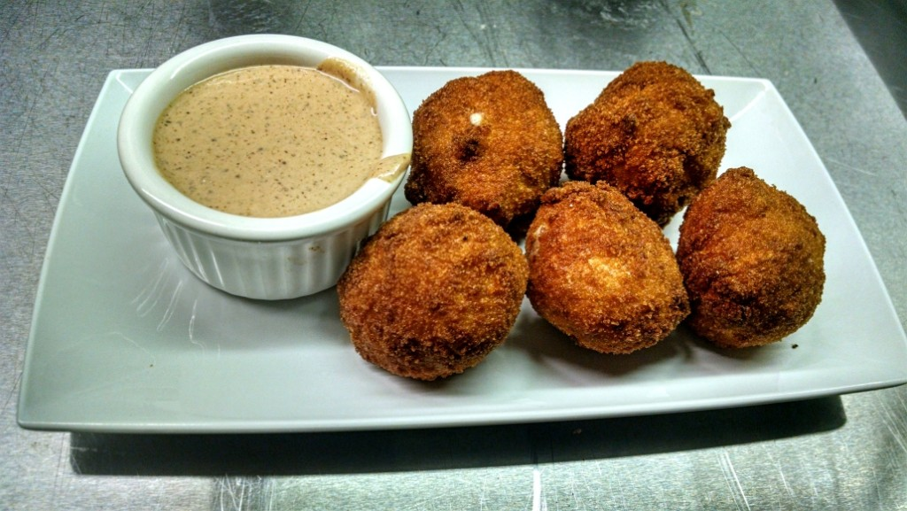 """Manor Bombs,"" five-cheese-and-bacon fried macaroni and cheese bites. Credit: Matt Skoufalos."