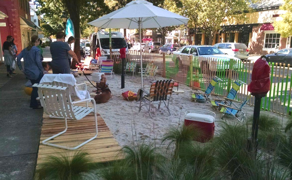 The PARK(ing) Day 2016 beach scene occupies just 41 feet of Kings Highway. Credit: Matt Skoufalos.