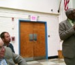 (Left) Oaklyn BOE President William Stauts listens to a report from consultant Peter Carter. Credit: Matt Skoufalos.