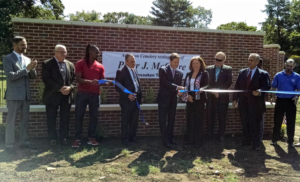 Labor organizers dedicate a wall to Peter J. McGuire at Arlington Cemetery in Pennsauken. Credit: Matt Skoufalos.