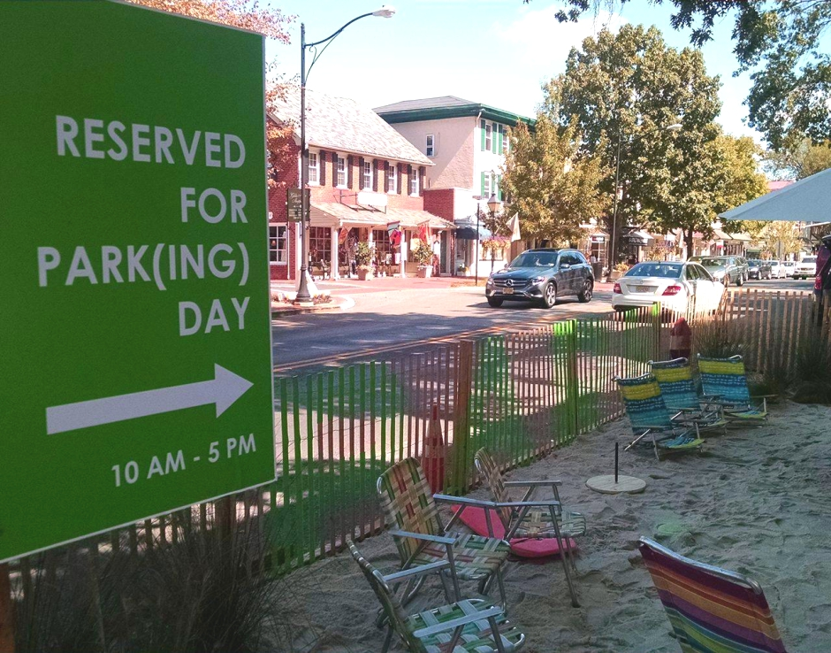 """""""Reserved for PARK(ing) Day"""" sign at Community Bikes and Boards in Haddonfield. Credit: Matt Skoufalos."""
