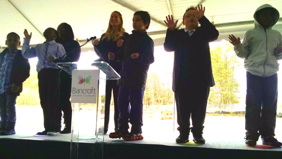 "Children served by Bancroft perform Bruno Mars' ""Don't Give Up"" at the groundbreaking of the organization's Mount Laurel campus. Credit: Matt Skoufalos."