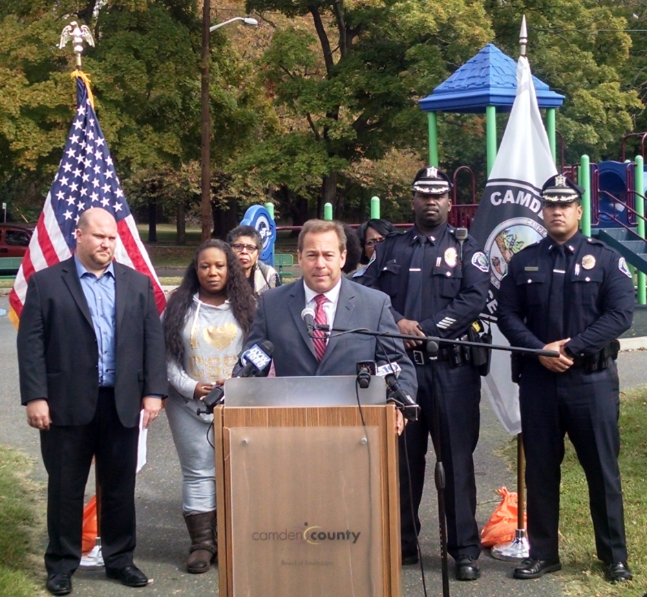 Camden County Freeholder Director Louis Cappelli addresses the media at Farnham Park. Credit: Matt Skoufalos.