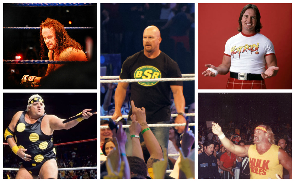 Clockwise from top left: The Undertaker, Stone Cold Steve Austin, Rowdy Roddy Piper. Hulk Hogan, Dusty Rhodes. Credit: Various.