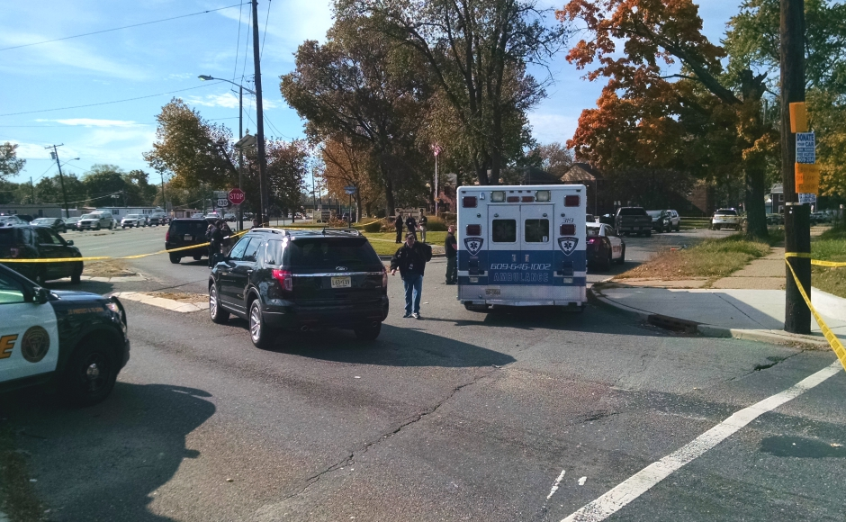 The scene of an apparent police-involved shooting on Route 130. Credit: Matt Skoufalos.